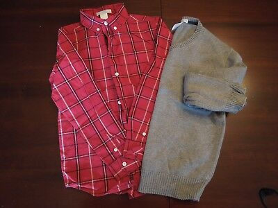 Janie and Jack Boys Long Sleeve Plaid Dress Shirt and Sweater Lot, Size 7, EUC!