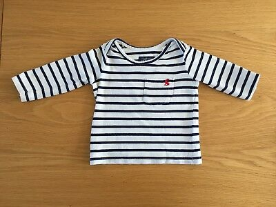 Joules Boys White and Navy Stripe T-shirt 6-9 Months