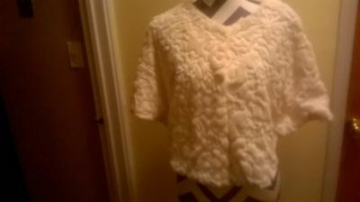 Bridal Faux Fur Ivory & Sequins Cape w/underarm snaps to make sleeves Fits all