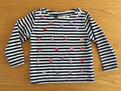 JoJo Maman Bebe Navy and White Stripe T-shirt with Flowers 6-12 Months