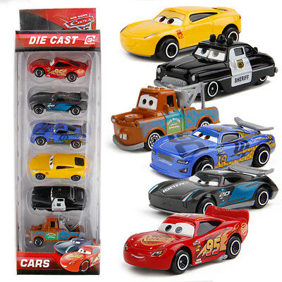6 Disney Pixar Cars Lighting McQueen Diecast Car Kid Boy Toy Set Playset Vehicle