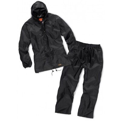 Scruffs Fully Waterproof Rainsuit Jacket & Over Trousers BLACK (Sizes L-XL) Mens