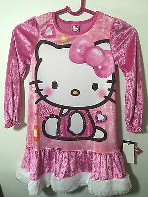 Hello Kitty Sanrio Long Sleeve Girls Pink Velour Nightgown Size 6 NWT