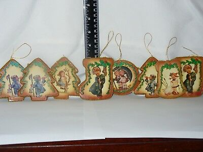 Lot Of 8 Rare 3-D Molded Double Sided  M.j. Hummel Christmas Ornaments