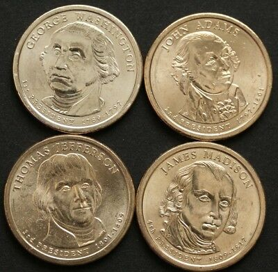 2007 US Presidential $1 One Dollar--4 Coins set UNC