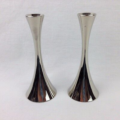 Pair of Chrome Plated Candlestick Holders Mid Century Modern Made in Germany