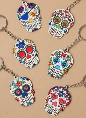 Sugar Skull Keyring In 6 Designs Stocking Filler Gift