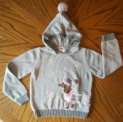 Girl's Maggie & Zoe Hooded Gray Pink Dachshund Wiener Dog Sweater - Size S(7-8)