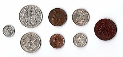 1933 Full Set of 8 Coins - Silver Half Crown to Penny - AUNC