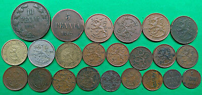 Lot of 23 Different Old Finland Coins 1867-1953 Vintage Nordic !!