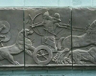Antique Reproduction Assyrian Wall Plaque Bas Relief Carving Dark Sandstone 36""