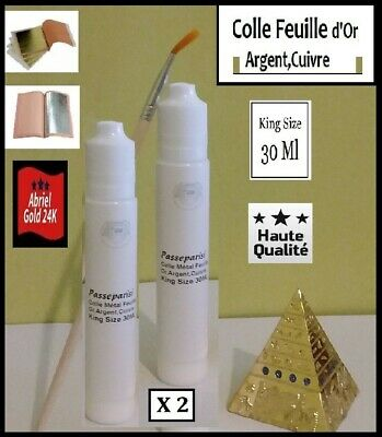 Colle feuille d'or,d'argent Primaire X2,gold leaf glue,King Size 30 ml