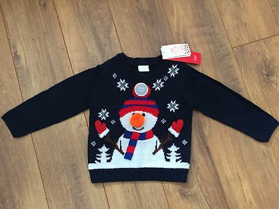 BNWT Boys Christmas jumper with flashing light 12-18 months, F&F