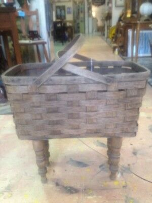 Antique Basket with Handles on Legs!  Very Versatile!  PICK-UP ONLY ROSWELL, GA