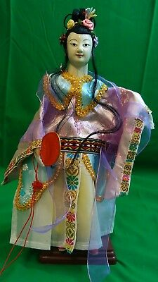 """NOS Vintage 13"""" Chinese Theater Opera Hand Puppet Doll Silk Embroidered NEW COND"""