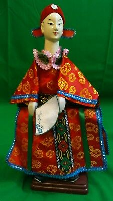 """NOS Vintage 13"""" Chinese Theater Opera Hand Puppet Doll Silk Embroidered"""