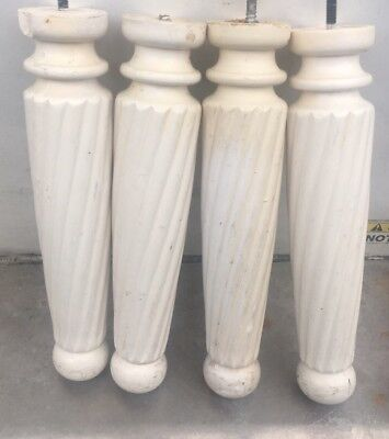4 Vtg 12.5 Architectural Salvage Wood Turned Stool Table Legs Repurpose White