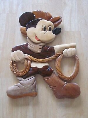Cowboy Mickey Mouse Wooden Wall Hanging