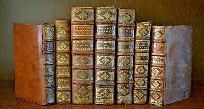 Collection of 7 Antique FINELY BOUND 17th Century Books PHILOSOPHY History RARE