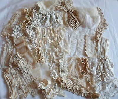 Large Lot Of Antique Lace Trims Inserts Edging