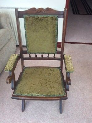 Antique Edwardian Mahogany and Upholstered Campaign Folding Chair