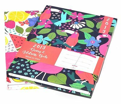 1 X 2019 A5 Home Family Week to View Organiser Flexi Cover Diary With Pen