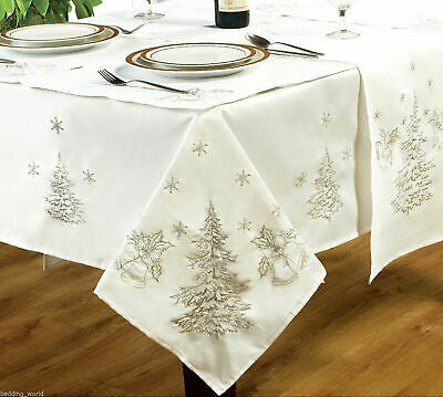 White Embroidered Xmas Christmas Tablecloth Napkins Runners Dinner Party Linen