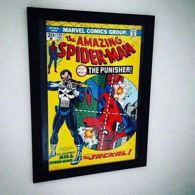 **Framed Marvel Poster/Amazing Spiderman #129 1974/Punisher**