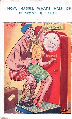 Comic Postcard by Mike 1954 Scotsman and Girlfriend on Weighing Scales