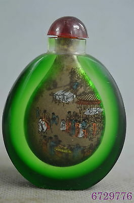 Collectable Handwork Glass Inner Paint Urban Prosperous Auspicious Snuff Bottle