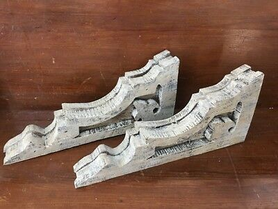 Antique Style Pair Wood Corbels Brackets Victorian Rustic Shabby Old Chic set 2