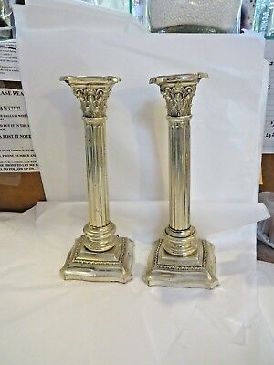 Pair Of R Wallace & Sons Sterling Silver Candlesticks Corinthian Column 19Th Cen