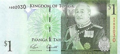 Tonga 1 Pa'anga (Paanga) 2008, P.37 LOW Fancy Serial Number A002XXX Almost Unc
