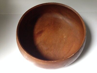 "Vintage Genuine Monkey Pod Wood Bowl 11"" diameter Hand crafted Philippines"
