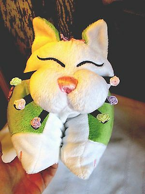 "Fat Kitty Cat Neck Pillow Or 14"" Flat Pillow Green & White W/colorful Flowers"