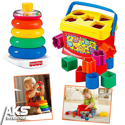 NO TAX! Classic Toys Bundle Rock-A-Stack Rings Baby Blocks Fisher Price Toy New
