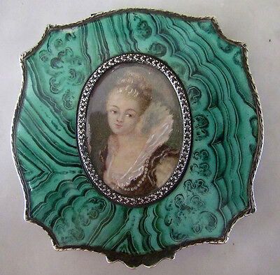 Antique Painted Enamel Medallion Sterling Silver Compact Box Italian