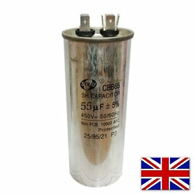 CBB65 450VAC 55uF Motor Capacitor Air Conditioner Compressor Start Capacitor UK