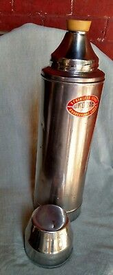 Vintage UNO-VAC tall 2 qt. unbreakable stainless steel thermos with rubber cork
