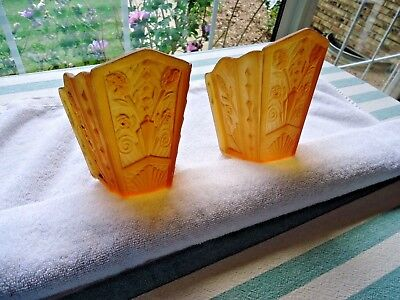 2 Antique Art Deco Wall Sconces Frosted Amber Glass Slip Shades
