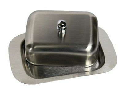 Uk Ship New Stainless Steel Butter Dish With Lid Tray Serving Storage Holder