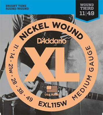 3 Sets D'Addario EXL115W Electric Guitar Strings 11-49 Wound 3rd String