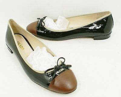 2a943655b67  600 Prada Cap Toe Ballerina Flat Shoes Black Brown Patent Leather 39.5 9.5  NICE