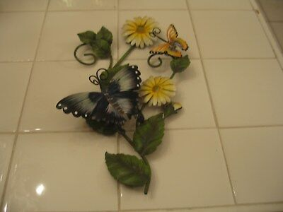 Beautiful Vintage Metal Toleware Tole Wall Sconce With Butterflies And Flowers