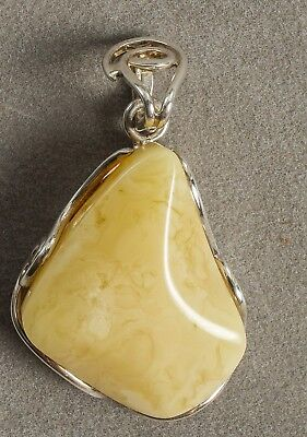 Exclusive handmade pendant genuine Baltic amber stone, 925 sterling silver! (21)