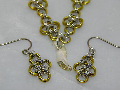 Hand-Made Enamelled Copper Chain Maille &  Crystal Earrings Set