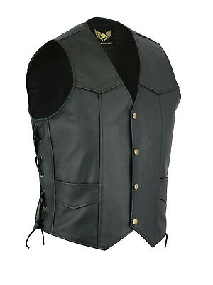 Mens Black Classic Side Laces Motorcycle Biker Leather Waistcoat vest UK Stock