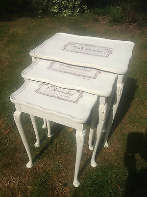 Gorgeous shabby Chic and Vintage, Nest Of 3 Tables, White & Decoupage