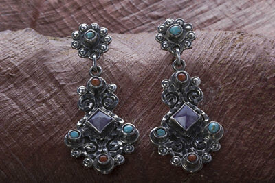 Kahlo Taxco Mexican Sterling Silver Turquoise Amethyst Earring Mexico