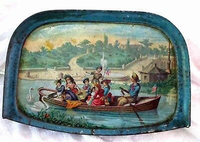 """1890's Victorian Children In Row Boat W American Star Flags-High Chair Tray-15"""""""